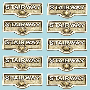 spec-<PRE>10 Switch Plate Tags STAIRWAY Name Signs Label Lacquered Brass </PRE>