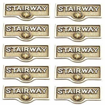 <PRE>10 Switch Plate Tags STAIRWAY Name Signs Label Lacquered Brass </PRE>zoom1