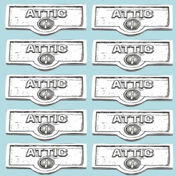 spec-<PRE>10 Switch Plate Tags ATTIC Name Signs Labels Chrome Brass </PRE>