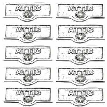<PRE>10 Switch Plate Tags ATTIC Name Signs Labels Chrome Brass </PRE>zoom1