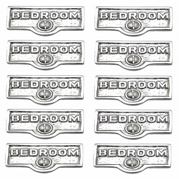 10 Switch Plate Tags BEDROOM Name Signs Labels Chrome Brass Switch Plate Labels Switch Plate ID Labels Switch Plate Label