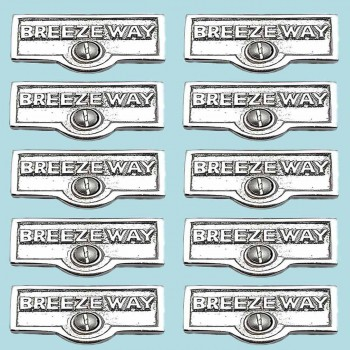 <PRE>10 Switch Plate Tags BREEZEWAY Name Signs Labels Chrome Brass </PRE>zoom2