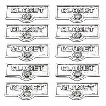 <PRE>10 Switch Plate Tags CLOSET Name Signs Labels Chrome Brass </PRE>zoom1