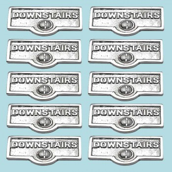 <PRE>10 Switch Plate Tags DOWNSTAIRS Name Signs Labels Chrome Brass </PRE>zoom2