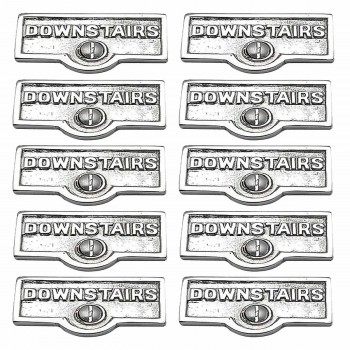<PRE>10 Switch Plate Tags DOWNSTAIRS Name Signs Labels Chrome Brass </PRE>zoom1
