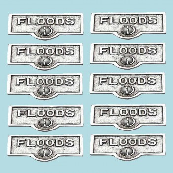 10 Switch Plate Tags FLOODS Name Signs Labels Chrome Brass Switch Plate Labels Switch Plate ID Labels Switch Plate Label
