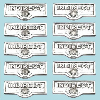 <PRE>10 Switch Plate Tags INDIRECT Name Signs Labels Chrome Brass </PRE>zoom2