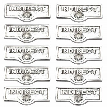 <PRE>10 Switch Plate Tags INDIRECT Name Signs Labels Chrome Brass </PRE>zoom1