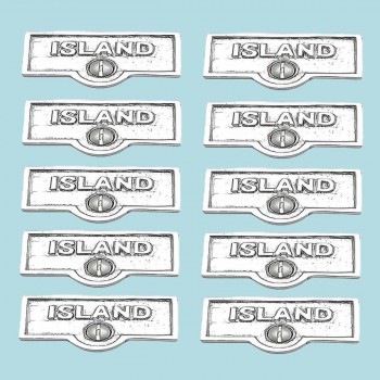 <PRE>10 Switch Plate Tags ISLAND Name Signs Labels Chrome Brass </PRE>zoom2