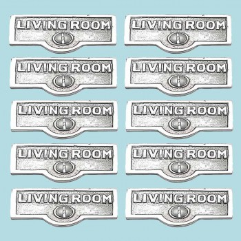 <PRE>10 Switch Plate Tags LIVING ROOM Name Sign Labels Chrome Brass </PRE>zoom2