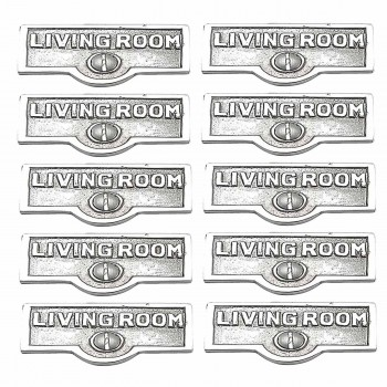 <PRE>10 Switch Plate Tags LIVING ROOM Name Sign Labels Chrome Brass </PRE>zoom1