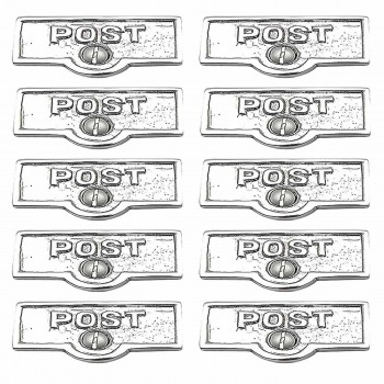 <PRE>10 Switch Plate Tags POST Name Signs Labels Chrome Brass </PRE>zoom1