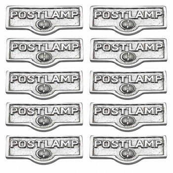 <PRE>10 Switch Plate Tags POST LAMP Name Signs Labels Chrome Brass </PRE>zoom1