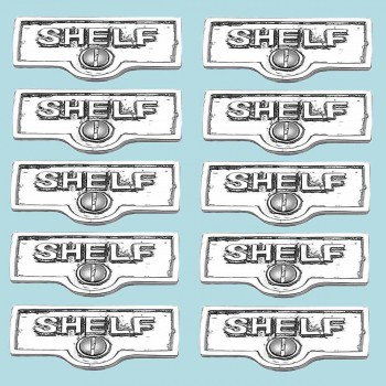 <PRE>10 Switch Plate Tags SHELF Name Signs Labels Chrome Brass </PRE>zoom2