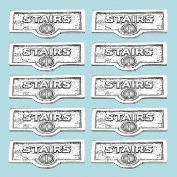<PRE>10 Switch Plate Tags STAIRS Name Signs Labels Chrome Brass </PRE>zoom2