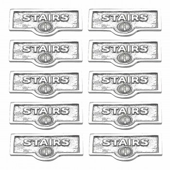 <PRE>10 Switch Plate Tags STAIRS Name Signs Labels Chrome Brass </PRE>zoom1
