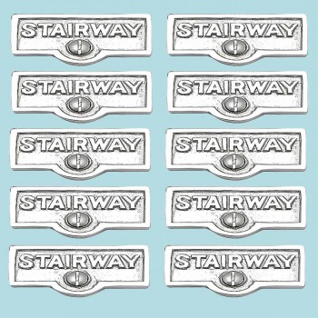 <PRE>10 Switch Plate Tags STAIRWAY Name Signs Labels Chrome Brass </PRE>zoom2