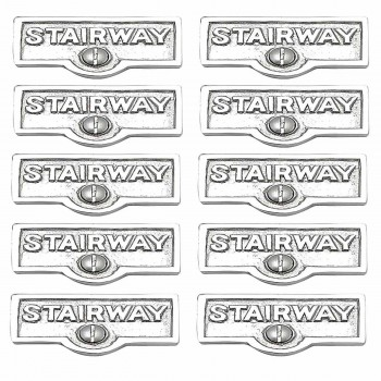 <PRE>10 Switch Plate Tags STAIRWAY Name Signs Labels Chrome Brass </PRE>zoom1