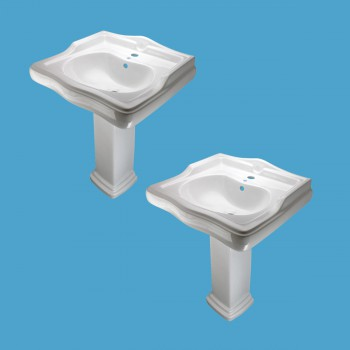 <PRE>White Pedestal Sink Grade A Vitreous China Scratch Resistant Set of 2</PRE>
