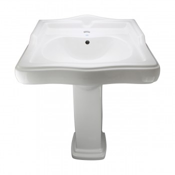 <PRE>White Pedestal Sink Grade A Vitreous China Scratch Resistant Set of 2</PRE>zoom13