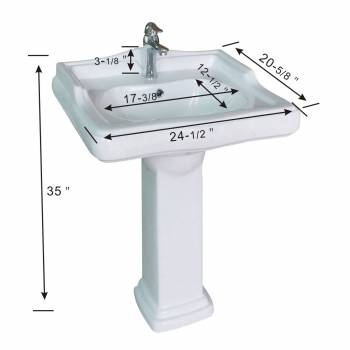 spec-<PRE>White Pedestal Sink Grade A Vitreous China Scratch Resistant Set of 2</PRE>