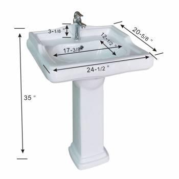spec-<PRE>White Pedestal Sink Grade A Vitreous China Scratch Resistant Set of 2</PRE>