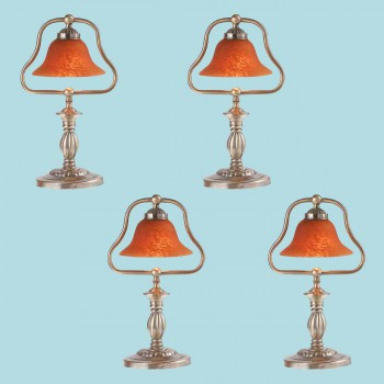 <PRE>4 Table Lamp Amber Antique Brass Lamp 17inchH </PRE>zoom2