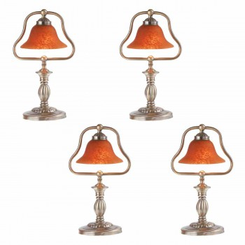 <PRE>4 Table Lamp Amber Antique Brass Lamp 17inchH </PRE>zoom1