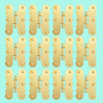 <PRE>12 Solid Brass Cabinet Hinges Scalloped Flush H Hinge 3&quot; </PRE>