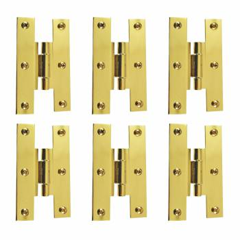 3 Solid Brass Cabinet H Hinge Offset PVD Long Lasting Finish Pack of 6
