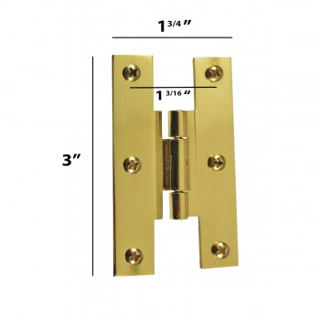 "spec-<PRE>3"" Solid Brass Cabinet H Hinge Offset PVD Long Lasting Finish Pack of 6</PRE>"