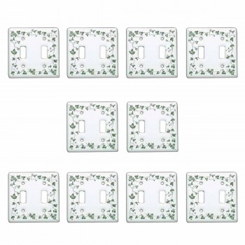 <PRE>10 Vintage Switch Plate White Porcelain Ivy Double Toggle </PRE>