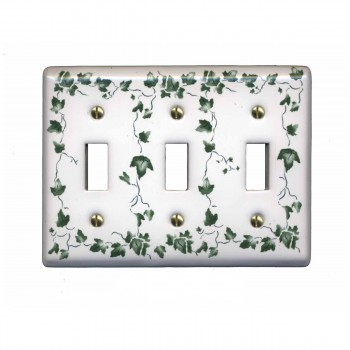 25 Switch Plate White Porcelain Ivy Triple Toggle Switch Switch Plate Wall Plates Switch Plates