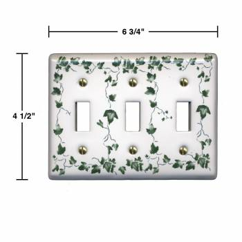 spec-<PRE>25 Switch Plate White Porcelain Ivy Triple Toggle Switch </PRE>