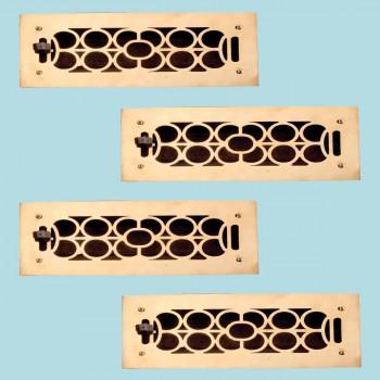 <PRE>4 Floor Heat Register Louver Vent Cast Brass 3&quot; x 9.5&quot; Duct </PRE>