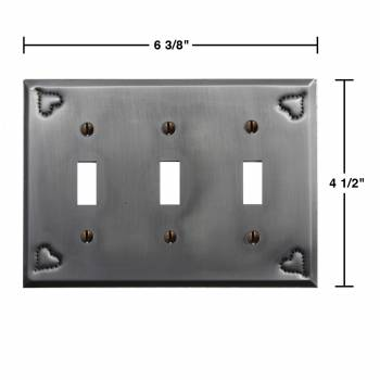 spec-<PRE>4 Switchplate Gray Tin Heart Triple Toggle </PRE>