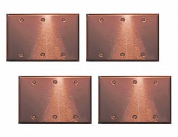 <PRE>4 Switchplate Bright Copper Triple Blank </PRE>zoom1