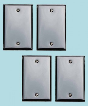 4 Switchplate Chrome Single Blank Switch Plate Wall Plates Switch Plates