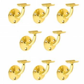 8 Bar Rail Brackets Lacquered Brass Armrest Holder Set of 8 Bar Bracket Bar Hardware Mounting Brackets