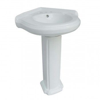 Renovators Supply White Corner Pedestal Sink with 4 Faucet,Sink Drain and PTrap Cute Fancy Modern Unique Vintage Colonial Old Elegant White Gloss Glossy Small Mini Tiny Narrow Space Saving Porcelain Ceramic Vitreous China