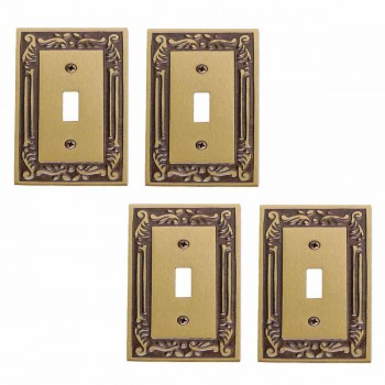 4 Victorian Antique Solid Brass Single Toggle or Dimmer switch