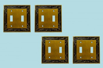 <PRE>4 Victorian Switch Plate Double Toggle Antique Solid Brass </PRE>zoom2