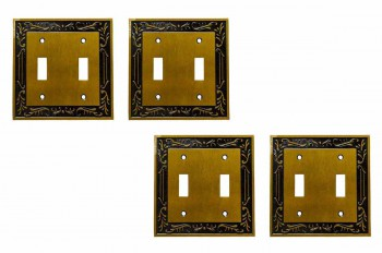 <PRE>4 Victorian Switch Plate Double Toggle Antique Solid Brass </PRE>zoom1