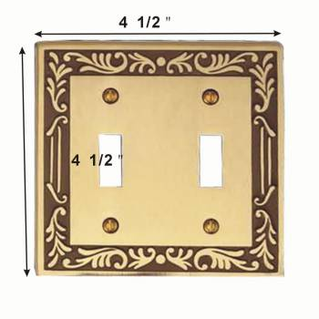 spec-<PRE>4 Victorian Switch Plate Double Toggle Antique Solid Brass </PRE>