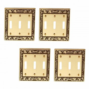 <PRE>4 Victorian Switch Plate Triple Toggle Antique Solid Brass </PRE>zoom1