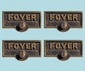 <PRE>4 Switch Plate Tags FOYER Name Signs Labels Antique Brass </PRE>zoom2