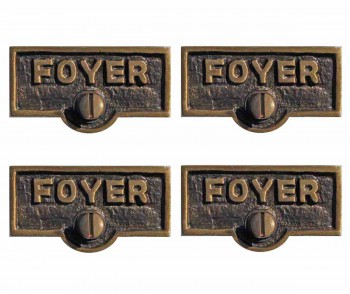 <PRE>4 Switch Plate Tags FOYER Name Signs Labels Antique Brass </PRE>zoom1