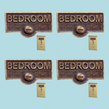 <PRE>4 Switch Plate Tags BEDROOM Name Signs Labels Antique Brass </PRE>zoom2