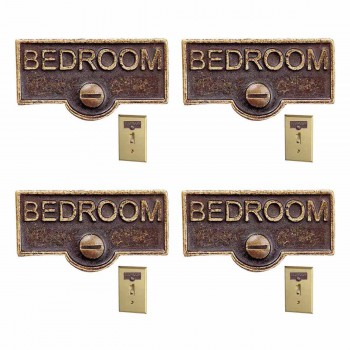 <PRE>4 Switch Plate Tags BEDROOM Name Signs Labels Antique Brass </PRE>zoom1