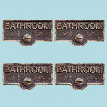 <PRE>4 Switch Plate Tags BATHROOM Name Signs Labels Antique Brass </PRE>zoom2